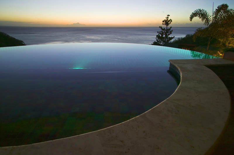 Infinity pool looking over sea at Jade Mountain hotel in St Lucia