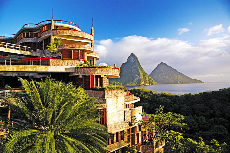 Soufriere, St. Lucia; Jade Mountain at Anse Chastenet Resort, where each suite has a view of the Pitons